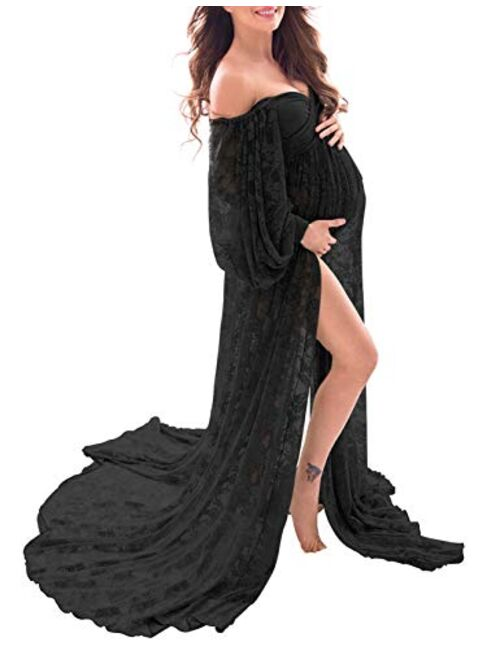 Saslax Soft Stretchy Lace Off Shoulder Doubly Split A-line Skirt Maternity Dress Pregnancy Maxi Gown for Photoshoot