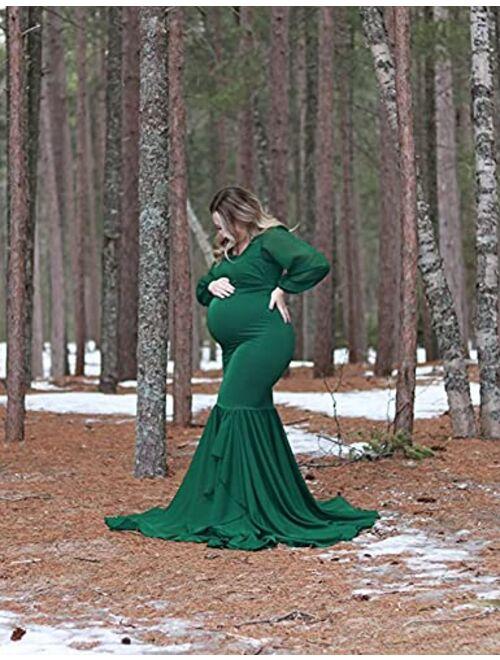 Saslax Long Chiffon Sleeve Tired Mermaid Maternity Dress for Photoshoot Photography Baby Shower