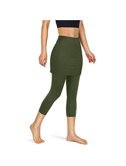 POTO Leggings for Women High Waisted,Womens Yoga Capris Tummy Control Workout Pants Skirted Leggings with Pockets