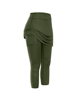 Skirted Legging for Women, Women Tennis Leggings with Pockets Skirts Elastic High Waisted Sports Capris Yoga Pants