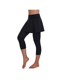VOWUA Women Mid Length Skirted Tennis Workout Athletic Leggings Pants Casual Skirted Legging Active Skirt Running Skort