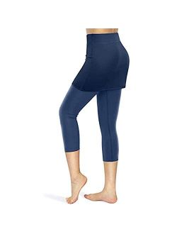 Claystyle Women Tennis Skirted Leggings with Pocket Capris Elastic Sports Run Golf Skorts (S, Navy)