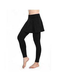 Skirted Legging for Women, Skirted Capri Leggings Tennis Pants with Skirts XUEJIN