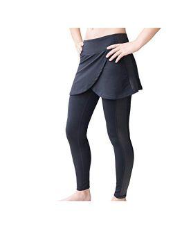 Garnet Label Women's Studio Skirted Legging with Side Stripe for Barre, Yoga, Tennis, Running.
