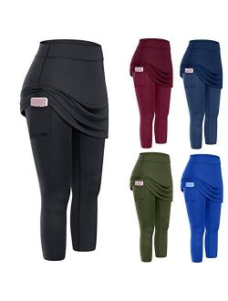 NC DOAEGNG Womens Tennis Skirted Leggings Solid Color Yoga Pants Plus Size Capris with Side Pockets