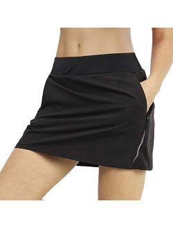 MIER Women's Athletic Skirt Sports Golf Tennis Running Skort with Elastic Waistband, 4 Pockets, Water Resistant