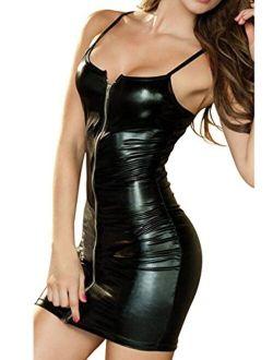 Evaliana Women Shiny PU Leather Slim Fit Sheath Bodycon Cocktail Party Mini Dress
