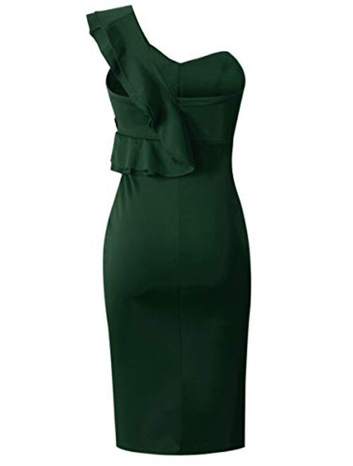 ECOWISH Women's Dresses Sexy Ruffle One Shoulder Sleeveless Split Bodycon Midi Party Dress