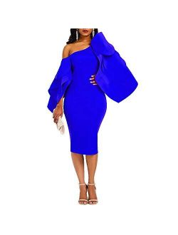 VERWIN Bodycon Dress for Woman Long Sleeve Knee-Length Ruffle Sleeve Off Shoulder Evening Dress