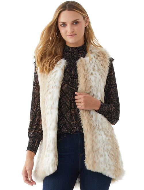 Scoop Women's Faux Fur Vest, Sand Leopard, Size M
