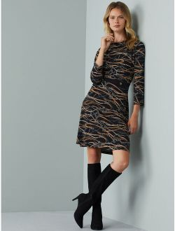 Women's Boatneck Dress With 3/4-length Sleeves