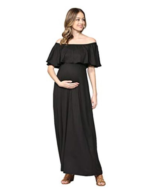 Maternity Dress Off Shoulder Maxi Pregnant Women Baby Shower Photoshoot