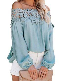 Adreamly Women's Lantern Long Sleeve Lace Crochet Off The Shoulder Tops Loose Blouses