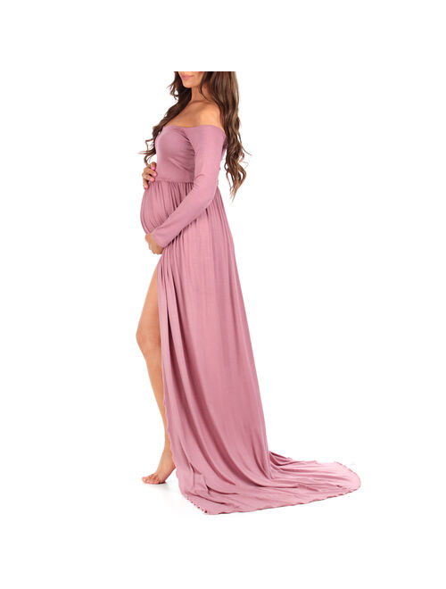 Off Shoulder Maternity Gown For Photoshoots