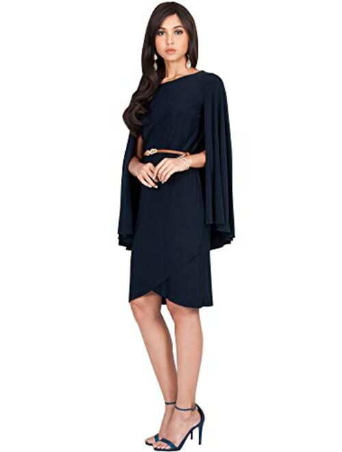 KOH KOH Womens Cape Long Sleeve Round Neck Cocktail with Leather Belt Mini Dress