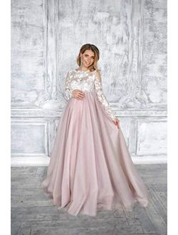 Matilda maternity blush tulle dress for photoshoot - Baby shower lace dress
