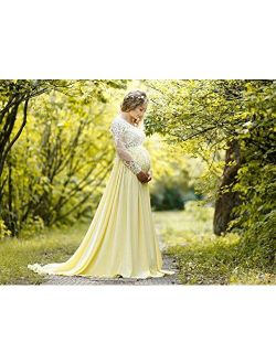 Maternity long lace dress photoshoot Maternity gown Pregnancy yellow dress Maternity pictures Photo session