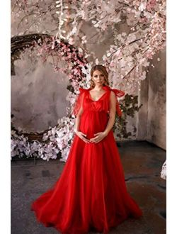 Mira maternity tulle dress with train in red - Pregnancy baby shower tulle dress