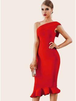 ADYCE Ruffle Hem One Shoulder Bandage Pencil Dress