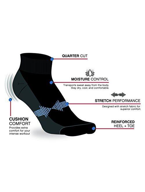 Reebok Rebook Men's Athletic Quarter Socks with Cushion Comfort (6 Pack)