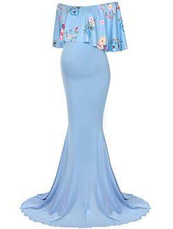 Molliya Maternity Long Dress Ruffles Lace Off Shoulder Stretchy Maxi Photography Dress