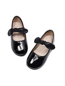 DeerBunny Toddler/Little Kid Girl's Dress Mary Jane Ballet Flats Bow Flower Girl Wedding Party Ballerina Flat Shoes