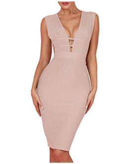 Women's Sleeveless Deep Plunge V Neck Night Club Party Bandage Dress With Waist Straps