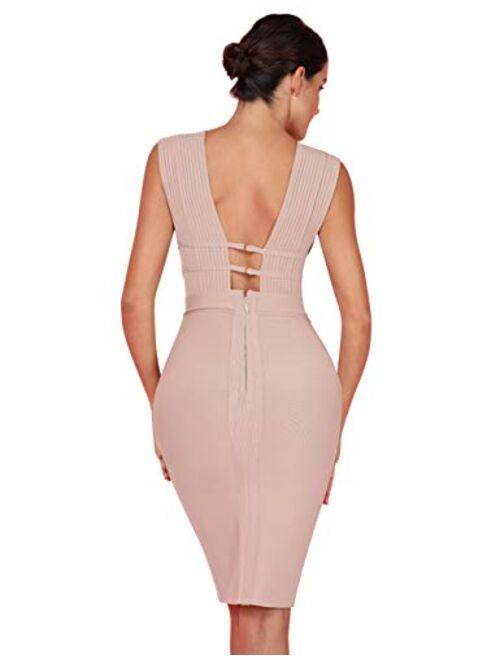 UONBOX Women's Sleeveless Deep Plunge V Neck Night Club Party Bandage Dress with Waist Straps
