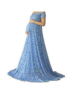 Elegant Lace Maternity Dress Off Shoulder Short Sleeve Photography High Waist Slim Fit V Neck Floor Length Maxi Dress