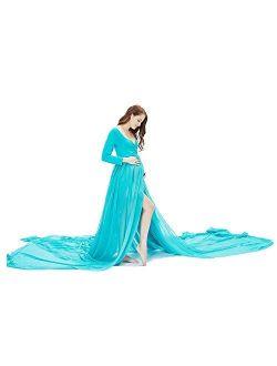 9.84ft Chiffon Maternity Photoshoot Dress Split Off Shoulder Long Train Sleeve