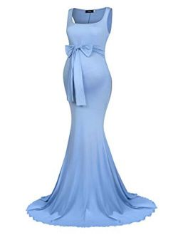 Molliya Maternity Long Dress Tie Front Slim Fitted Photography Maxi Dresses for Baby Shower