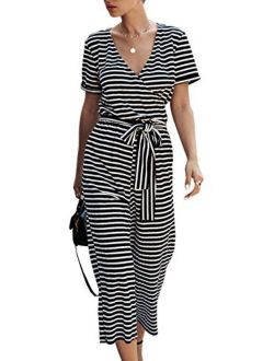 Women's Short Sleeve V Neck Striped Jumpsuit Wide Leg Pants Loose Romper With Pockets And Belts