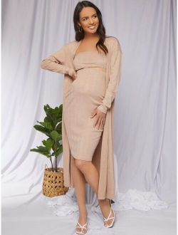 Maternity Tube Top & Skirt Set With Coat