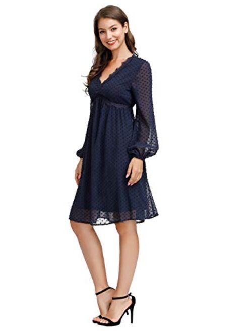 JASAMBAC Women's Swiss Dot Long Sleeve Bridesmaid Dress V Neck Maternity Dress
