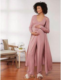 Maternity Solid Rib-knit Tank Top & Drawstring Pants Set With Coat