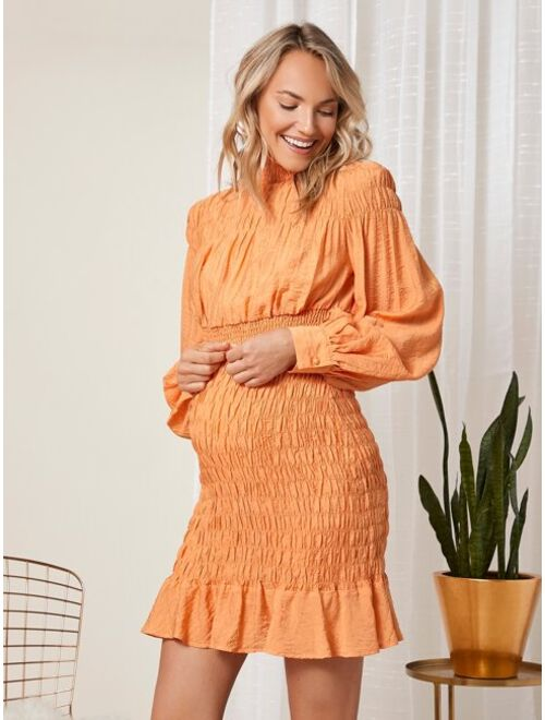 SHEIN Maternity Lantern Sleeve Shirred Detail Top & Ruffle Hem Skirt Set