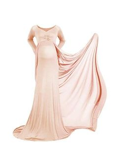 Pregnant Women Elegant Fitted Maternity Gown Long Sleeve V Neck Slim Chiffon Train Maxi Photography Dress for Photoshoot