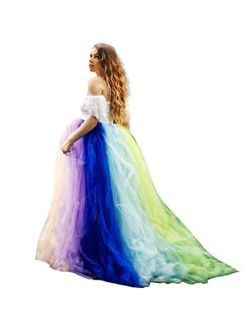 Rainbow Maternity Photoshoot Dress Off Shoulders Stretch Lace Tulle Pregnancy Tutu Baby Shower Bridesmaids Photography Gown