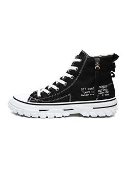 WELRUNG Men's High Top Retro Street Personality Thick Soled Sports Breathable Canvas Shoes