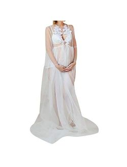 Hemlock Maternity Photoshoot Dress Sexy Lace See Through Dress Pregnancy Photography Gown Dress