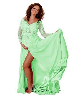 Sweet Bridal Women's Maternity Lace Appliques Split Long Sleeve Dresses for Baby Shower Photography Gowns