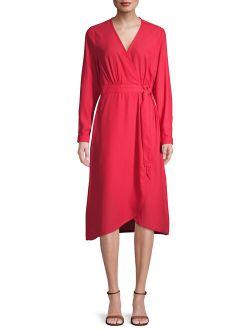 Women's Long Sleeve Faux Wrap Dress