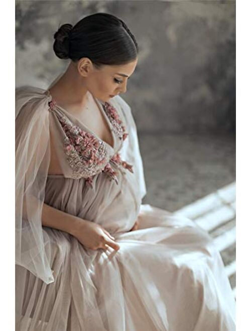 BathGown Women's Off The Shoulder Elegant Fitted Maternity Gown Flare Sleeve Slim Fit Maxi Photography Dress for Photoshoot