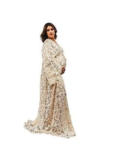 Boho Beige Maternity Dress for Photoshoot Women's Long Sleeve Maternity Gown Maxi Photography Dress