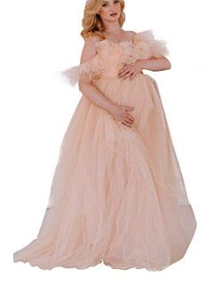 BathGown Maternity Dress for Photoshoot Off Shoulder Chiffon Long Sleeves and Tiered Mermaid Skirt Pregnancy Maxi Gown