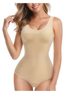 Women Waist Trainer Bodysuit Slim Full Body Shapewear Seamless Round Neck Jumpsuits Tummy Control Tops