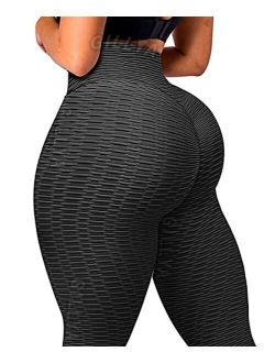 Booty Yoga Pants Women High Waisted Ruched Butt Lift Textured Scrunch Leggings Booty Tights