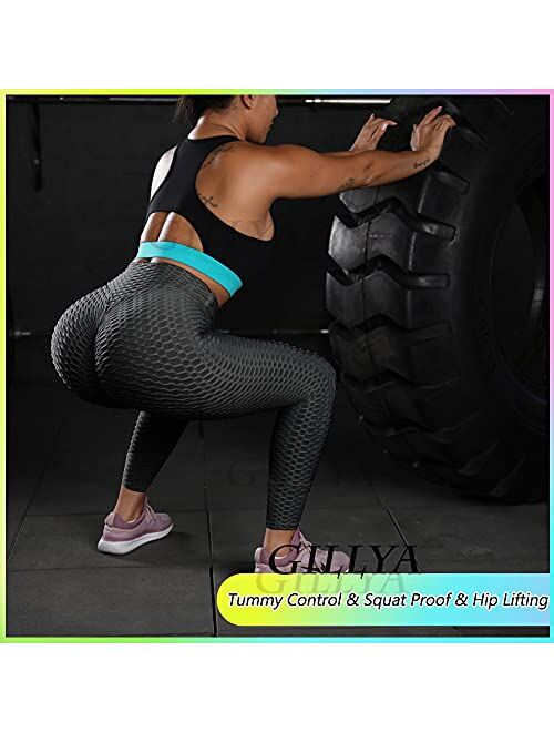 GILLYA Booty Yoga Pants Women High Waisted Ruched Butt Lift Textured Scrunch Leggings Booty Tights