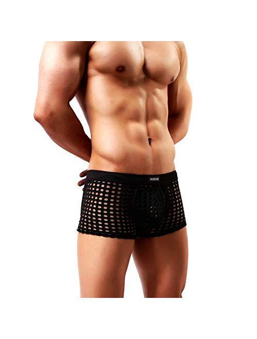 Arjen Kroos Men's Hollow out Boxer Briefs Breathable Mesh Trunks Underwear