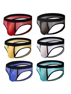 Men's Breathable Mesh Jockstrap See-through Backless Briefs Pouch Underwear
